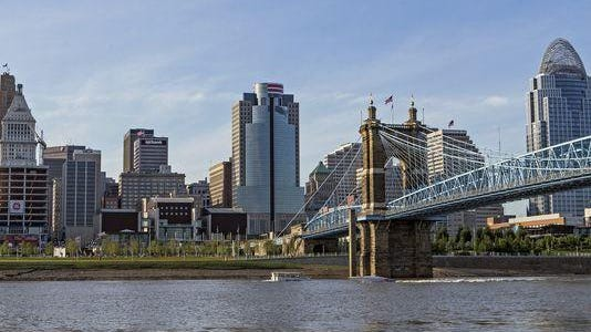A view of downtown Cincinnati as seen from the banks of the Ohio River in Covington on July 24, 2015.