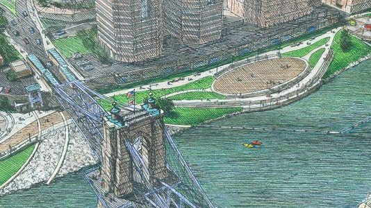 A sketch of a portion of Riverfront Commons in Covington