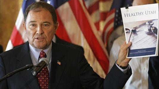 This Dec. 4, 2014 file photo shows Gov. Gary Herbert speaking during a news conference unveiling details about his alternative to expanding eligibility for Medicaid in Utah.