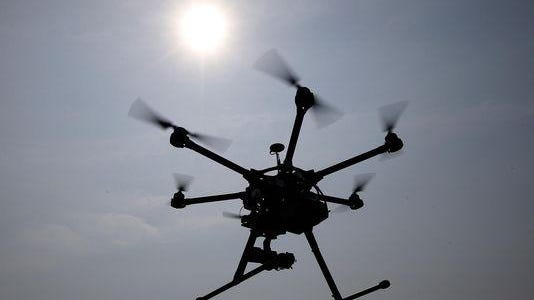 A hexacopter drone.
