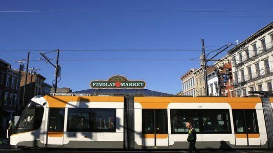 A recent test run of Cincinnati's streetcar passed in front of Findlay Market.