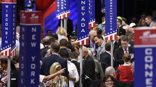 Convention goers begin to fill the convention floor before the gavel drops to kick off the events during the 2016 Republican National Convention at Quicken Loans Arena.(Photo: Robert Hanashiro, USA TODAY)