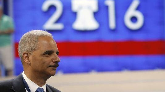 Former Attorney General Eric Holder spoke at a black caucus meeting Wednesday.