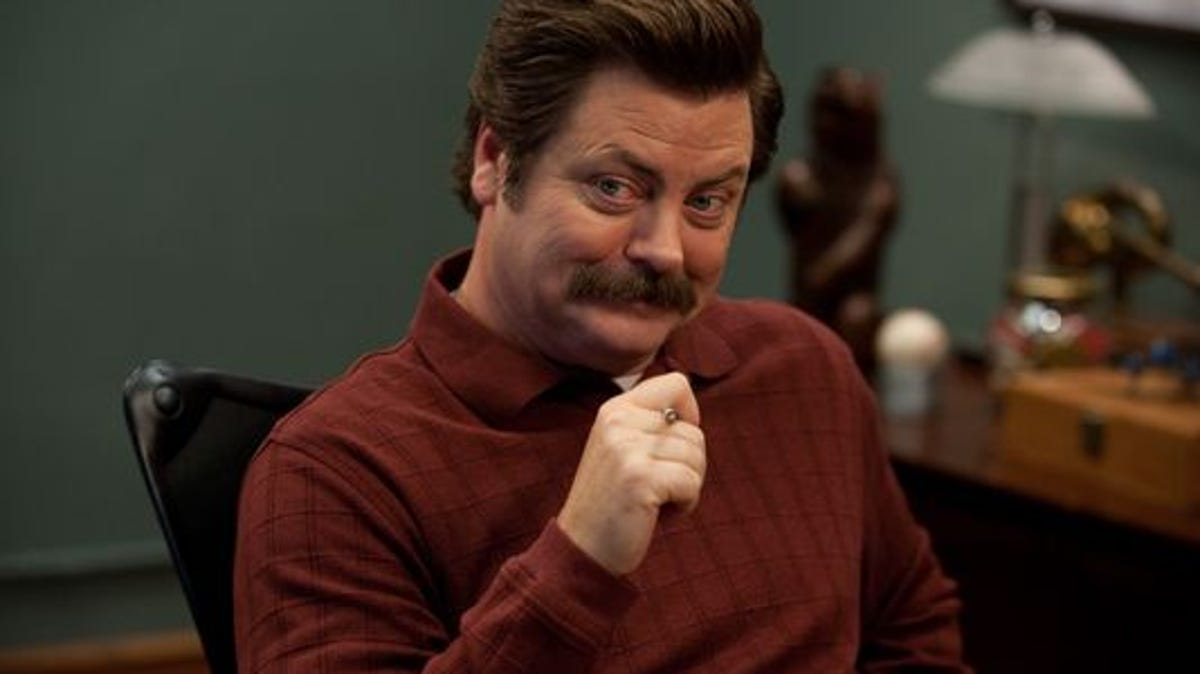 """PARKS AND RECREATION -- """"Leslie vs. April"""" Episode 507 -- Pictured: Nick Offerman as Ron Swanson (Photo by: Colleen Hayes/NBC)"""