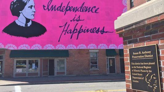 This massive mural featuring Susan B. Anthony was crocheted by 200 volunteers. It was installed on May 7, 2017 and is part of a series by multimedia artist Olek, who launched a series featuring strong women in American history.