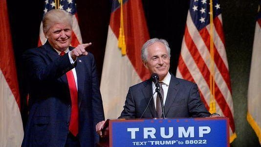 In this file photo from 2016, U.S. Sen. Bob Corker introduces then-candidate Donald Trump. On Tuesday, Corker and President Trump engaged in criticism of each other on Twitter.