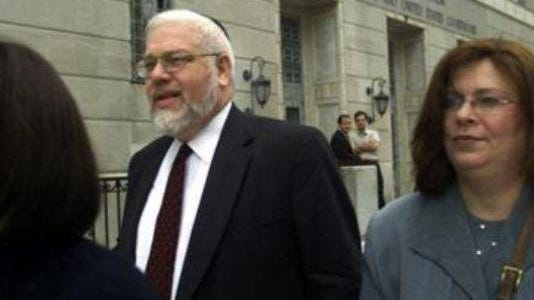 Rabbi Meir Hertz, former Lakewood Housing Authority director, leaves the federal courthouse in Trenton after his sentencing for tax evasion in 2000.