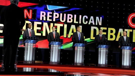 Republican presidential candidates participate in the primary debate at the University of Houston on Feb. 25, 2016.