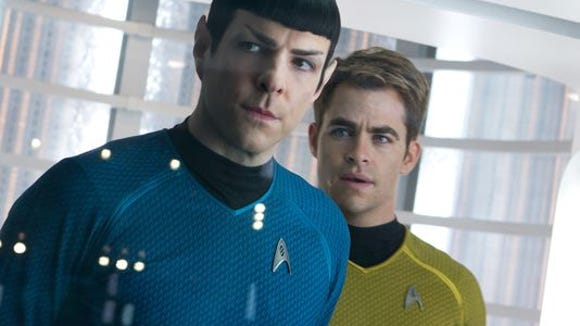 Zachary Quinto as Spock and Chris Pine as Kirk in 'Star Trek: Into Darkness.' (Photo: Zade Rosenthal, AP)