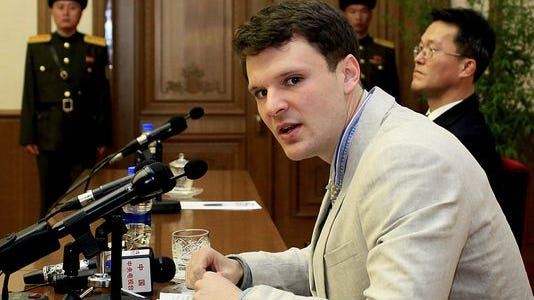 Otto Warmbier, seen here at a February 2016 press conference in Pyongyang, North Korea, died days after being released from custody there.