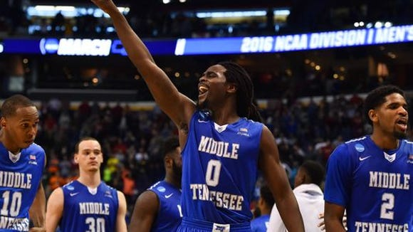 Middle Tennessee Blue Raiders players celebrate their victory against Michigan State. (Photo: Jasen Vinlove, USA TODAY Sports)