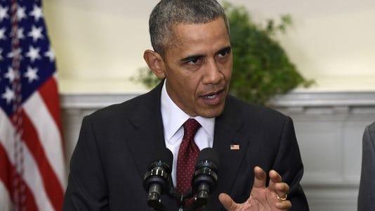 President Obama speaks in the Roosevelt Room of the White House in Washington on Nov. 25, 2015.