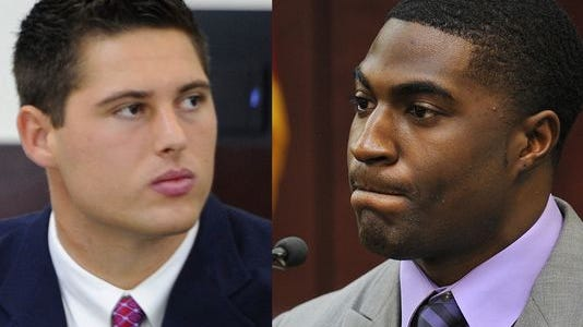 Brandon Vandenburg, left, and Cory Batey were found guilty on all charges in the Vanderbilt rape trial on Tuesday. The two are former football players at the college.