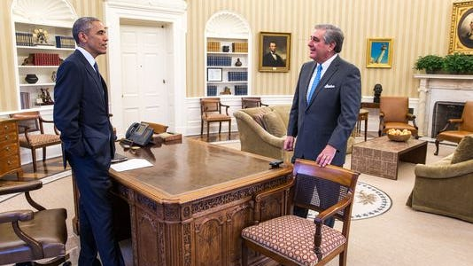 President Barack Obama speaks with Jerry Abramson, director of Intergovernmental Affairs, in the Oval Office last year.