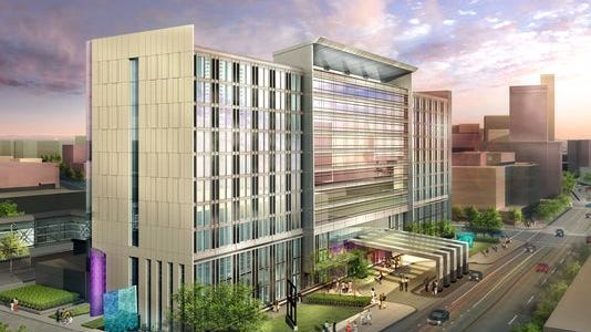 A rendering of the convention center hotel that would connect to the Iowa Events Center in downtown Des Moines. Des Moines was one of three cities that moved ahead during the first round of Reinvestment Districts in 2014.