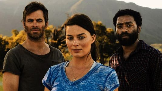 """An official still from the movie """"Z for Zachariah,"""" starring, from left, Chris Pine, Margo Robbie and Chiwetel Ejiofor."""