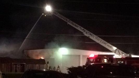 Firefighters from five area departments battle a blaze Sept. 3 at Ridgeway Trailer Co., 3168 S. Ridge Road, Ashwaubenon. Damage is estimated at $500,000.