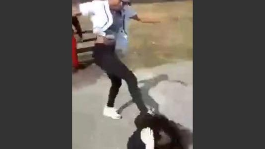 Screen grab from a video showing a girl and her little brother being attacked in Brookside Park.