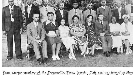 Elbert Williams stands on the far left in this photograph of the charter members of Brownsville's NAACP chapter.