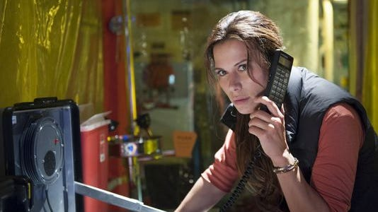 """Rhona Mitra on her Last Ship character, Dr. Rachel Scott: """"A strange sort of romance exists between a scientist and a virus. I love the fact that this woman is so locked in with this particular relationship, with a view ... that she can possibly save the human race."""""""