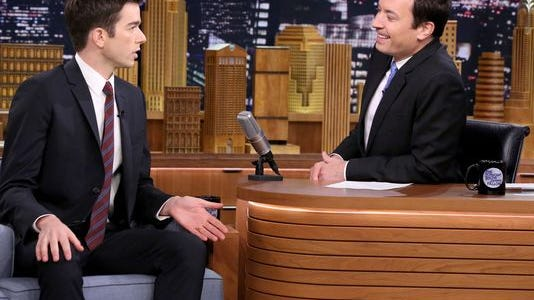 Comedian John Mulaney during an interview with host Jimmy Fallon on Oct. 1.