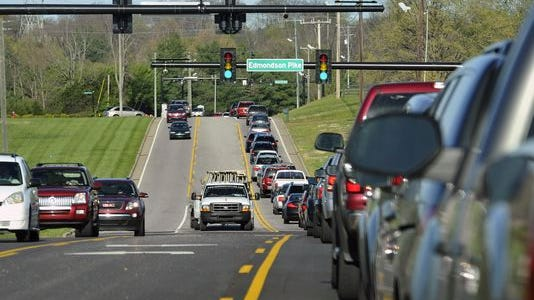 Traffic often backs up on Concord Road east of Edmondson Pike during morning rush hour.