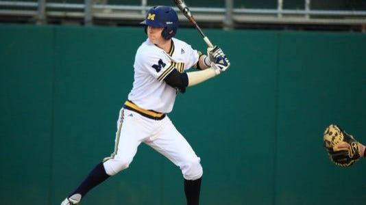 Former St. Clair standout Jacob Cronenworth bats for the Wolverines against Air Force.