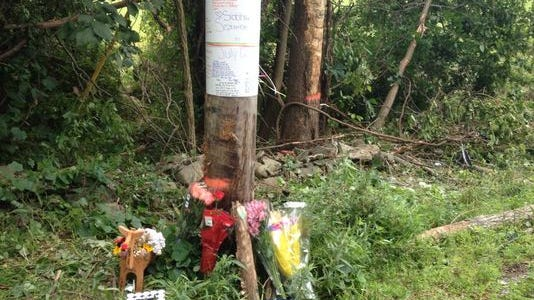 Flowers are placed at a car crash site in memory of Siobhan Dolphin, 18, the victim in the fatal accident on Baxtertown Road in Fishkill.