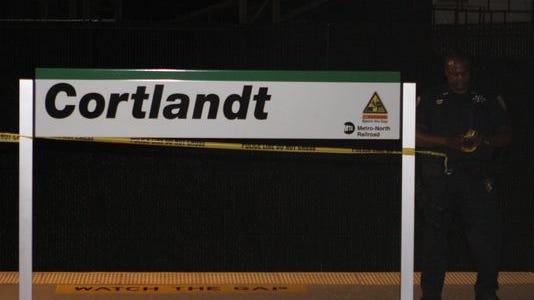 Police investigate Wednesday night after a man was struck and killed by a train at the Cortlandt train station.
