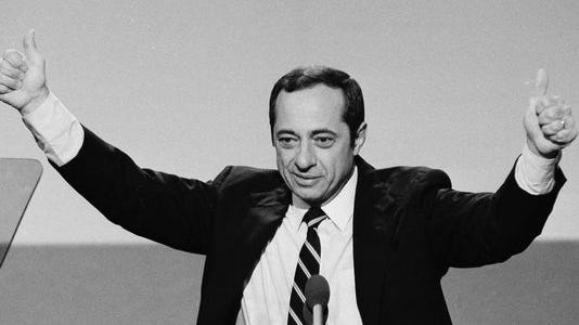 Gov. Mario Cuomo gestures at the 1984 Democratic National Convention.