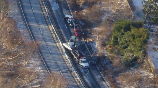 An aerial view of Wednesday's 17-car crash on the Saw Mill River Parkway.