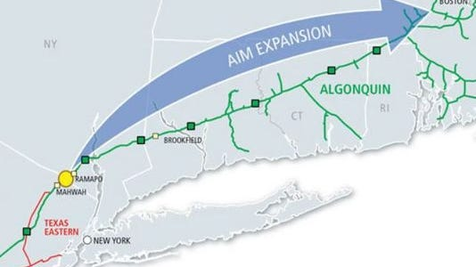 The proposed route of the expanded Algonquin pipeline