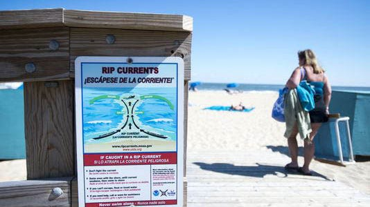 A rip current sign near 17th Street in Ocean City, Maryland.