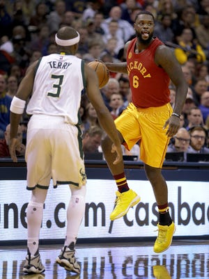 Indiana Pacers guard Lance Stephenson (6) is defended by Milwaukee Bucks guard Jason Terry (3) in the first half of their game Wednesday, April 6, 2016.