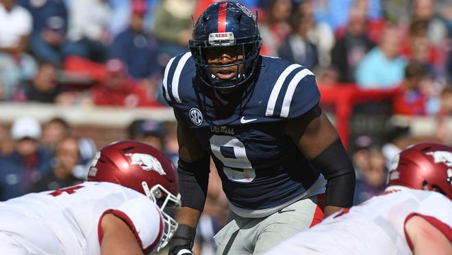 Defensive lineman Breeland Speaks (9) said he doesn't pay much attention to any of Mississippi State's involvement with the NCAA's investigation into Ole Miss.