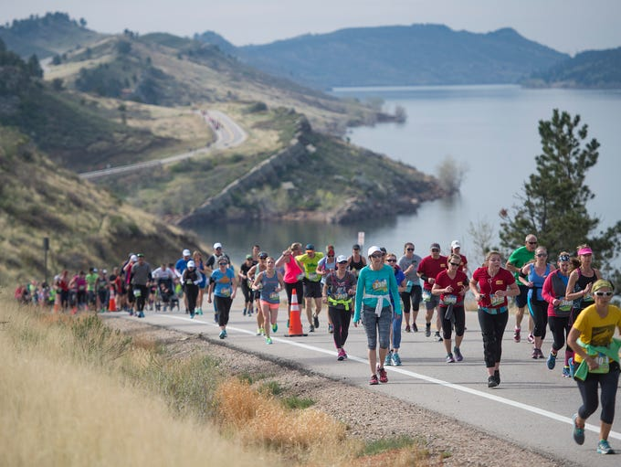 Runners compete in the Horsetooth Half Marathon on