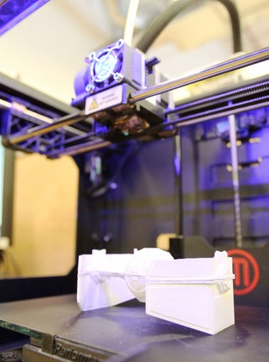 3-D printer: An additive manufacturing process to create three-dimensional solid objects from a digital file. Valley makers have used 3-D printing to make a life-sized, functional car, phone cases, prosthetic body parts and a chess set.