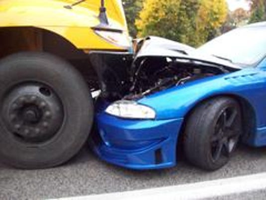 A bus, carrying Spring Grove Area School District students, and a Mitsubishi collided in North Codorus Township on Lehman Road near Lake Club Lane Wednesday afternoon. Southwestern Regional Police Department said no injuries were reported.