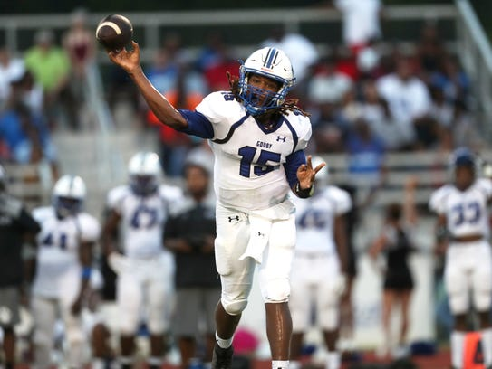 Godby's Rasean Mckay throws the ball against Chiles