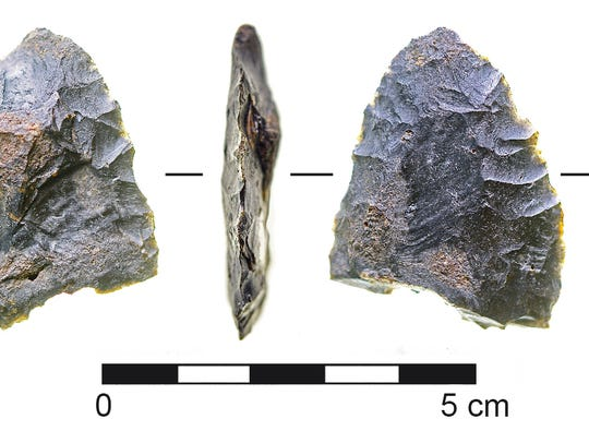 Biface, stone tool found in Aucilla River, dating back