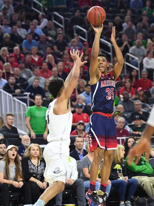 Mar 11, 2017: Arizona Wildcats guard Allonzo Trier (35) shoots during the Pac-12 Conference Championship game against the Oregon Ducks at T-Mobile Arena.