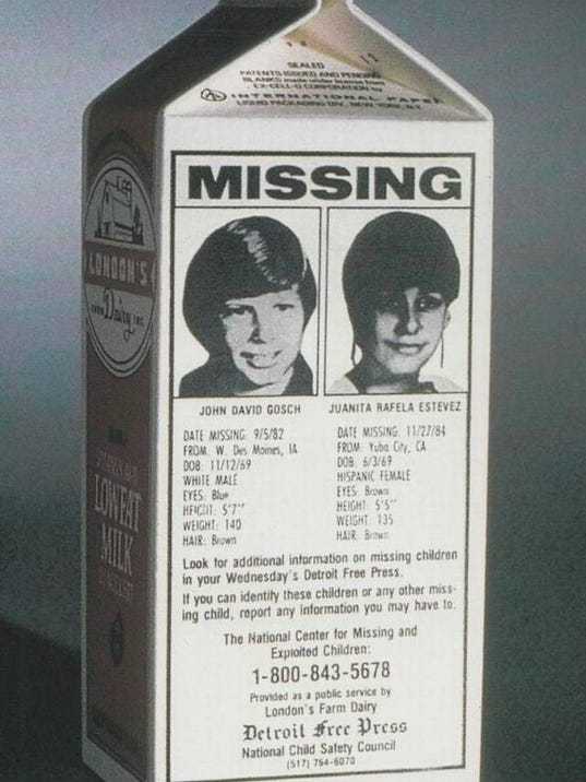 When Missing Kids Could Be Found on Milk Cartons | Mental ... |Missing Person Milk