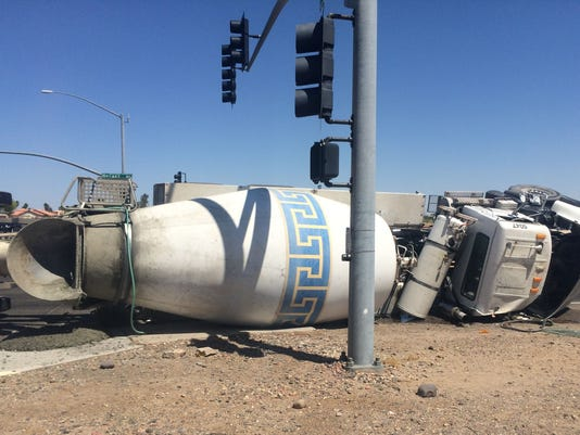 Cement truck overturns in Avondale