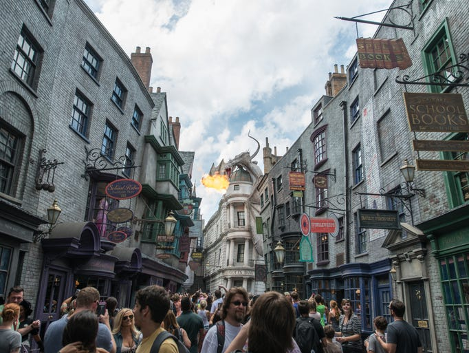 The dragon greets visitors to the Wizarding World of