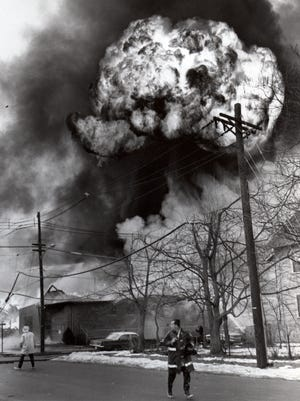 A brilliant orange mushroom cloud appeared over Hawthorne's Morningstar-Paisley chemical plant after the explosion. The disaster in 1967 left 11 dead.