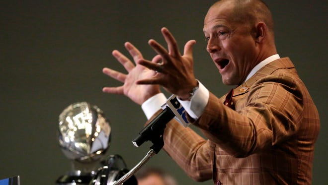 Minnesota football coach P.J. Fleck had an animated session at Big Ten Media Day in Chicago.