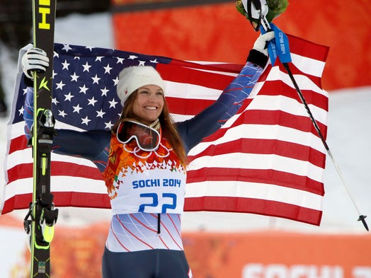 Julia Mancuso (USA) celebrates after winning the bronze medal in the women's super combined.