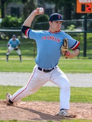 Livonia Franklin senior Kolby Dewhirst delivers a pitch during Saturday's district final against Livonia Churchill. Dewhirst threw a shutout to help the Patriots prevail.