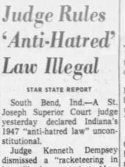 """""""Judge Rules Anti-Hatred Law Illegal,"""" Indianapolis Star, 1965."""