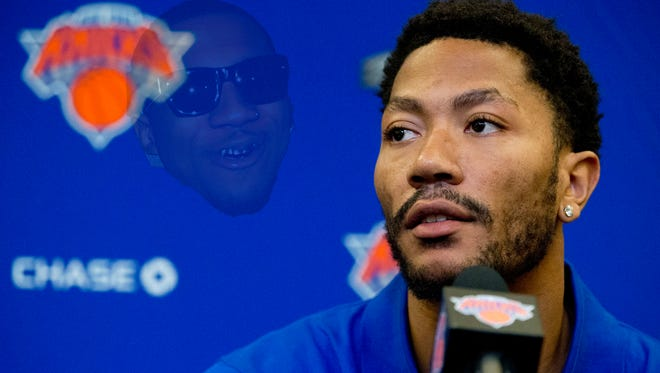Derrick Rose speaks during an introductory news conference at Madison Square Garden.
